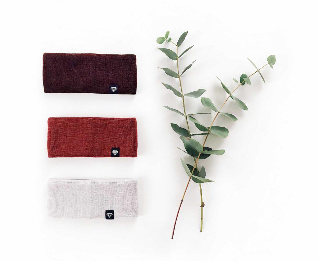 Stirnband gestrickt aus Merino Wolle bordeaux rost rot grau