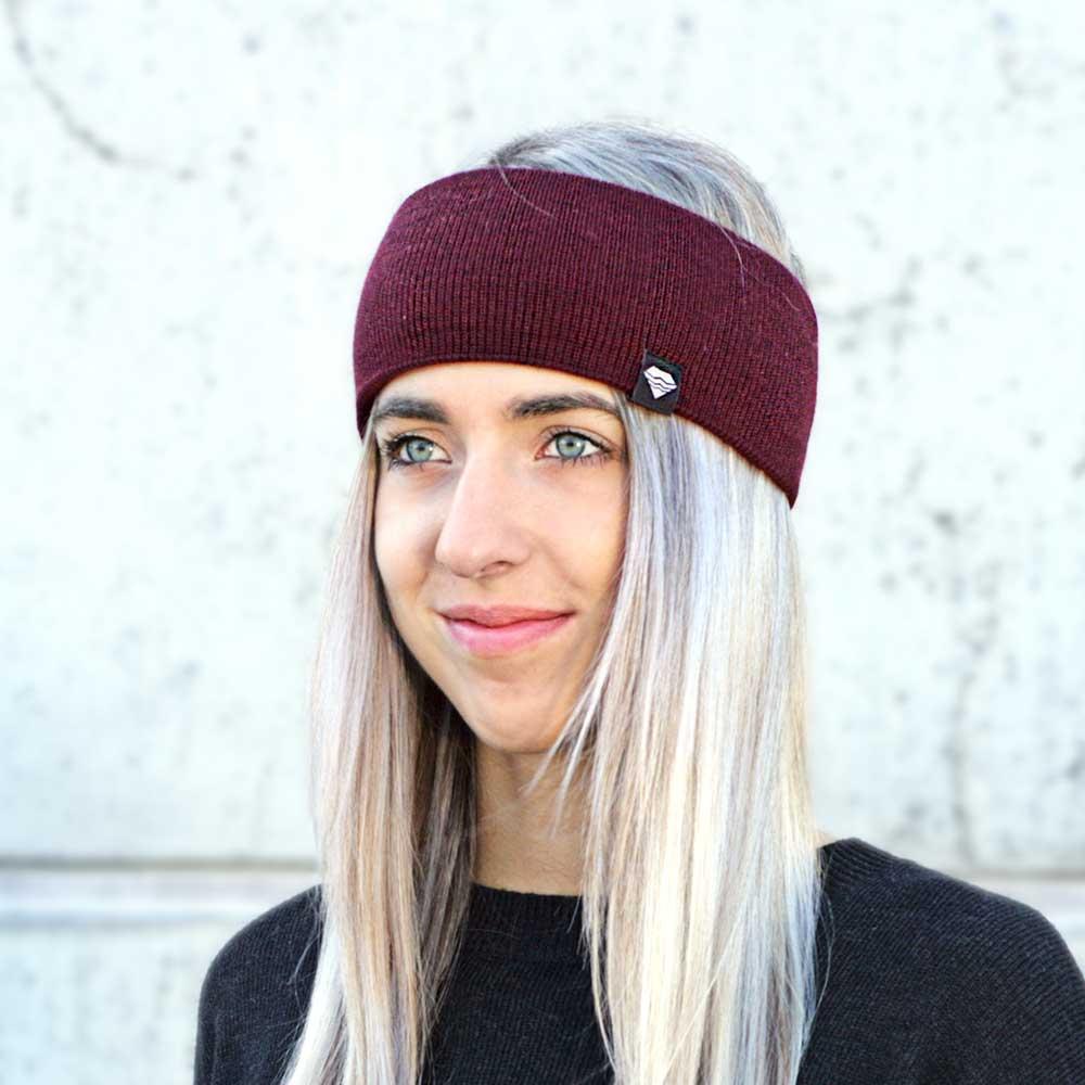 Stirnband-gestrickt-Merino-Schurwolle-Wolle-nachhaltig-Ohrenwärmer-Damen-Herren-Winter-bordeaux-weinrot