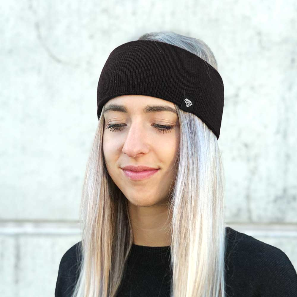 Stirnband-schwarz-gestrickt-Merino-Wolle-nachhaltig-Ohrenwärmer-Damen-Herren-Winteraccessoire